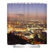 City Lit Up At Night, Esslingen Shower Curtain