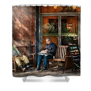 City - New York - Greenwich Village - The Path Cafe  Shower Curtain by Mike Savad