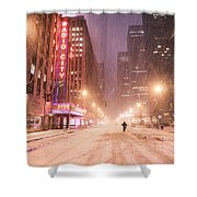 City Night In The Snow - New York City Shower Curtain