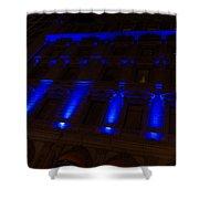City Night Walks - Blue Highlights Facade Shower Curtain