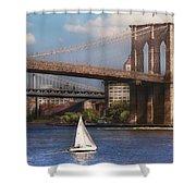 City - Ny - Sailing Under The Brooklyn Bridge Shower Curtain