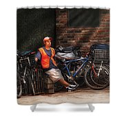 City - Ny - Waiting For The Next Delivery Shower Curtain