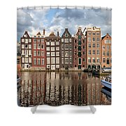 City Of Amsterdam At Sunset In Netherlands Shower Curtain