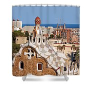 City Of Barcelona From Park Guell Shower Curtain
