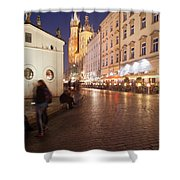 City Of Krakow By Night In Poland Shower Curtain