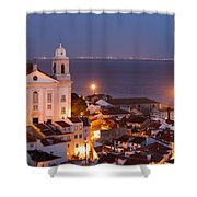 City Of Lisbon In Portugal At Night Shower Curtain