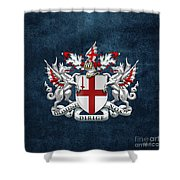 City Of London - Coat Of Arms Over Blue Leather  Shower Curtain