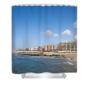City Of Matosinhos Skyline In Portugal Shower Curtain