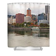 City Of Portland Oregon In The Fall Panorama Shower Curtain