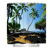 City Of Refuge - A View Of A Hawaiian Traditional House  Shower Curtain