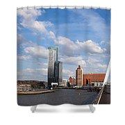 City Of Rotterdam From Erasmus Bridge Shower Curtain