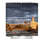 City Of Seville At Sunset Shower Curtain