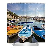 City Of Split Colorful Harbor View Shower Curtain