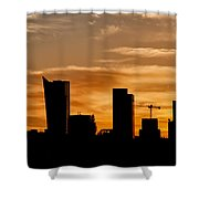 City Of Warsaw Skyline Silhouette Shower Curtain
