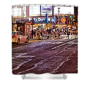 City Scene - Crossing The Street - The Lights Of New York Shower Curtain