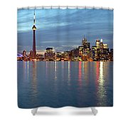 City Skyline At Dusk From Centre Shower Curtain