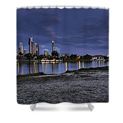 City Skyline At Night Shower Curtain
