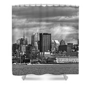 City - Skyline - Hoboken Nj - The Ever Changing Skyline - Bw Shower Curtain by Mike Savad