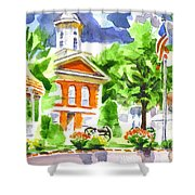 City Square In Watercolor Shower Curtain