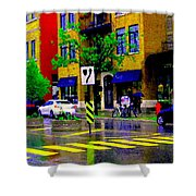 City Street Relections In The Rain Quebec Art Colors And Seasons Montreal Scenes Carole Spandau Shower Curtain