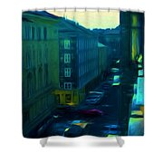 City Streets Digital Painting Shower Curtain