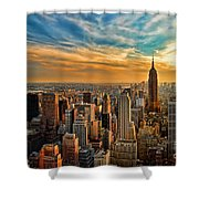 City Sunset New York City Usa Shower Curtain by Sabine Jacobs