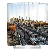 City Up The Tracks Shower Curtain