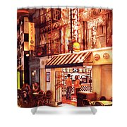 City - Vegas - Ny - Broadway Burger Shower Curtain by Mike Savad
