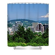 City With Mt. Hood In The Background Shower Curtain