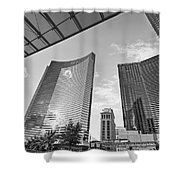 Citycenter - View Of The Vdara Hotel And Spa Located In Citycenter In Las Vegas  Shower Curtain by Jamie Pham