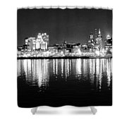 Cityscape In Black And White - Philadelphia Shower Curtain