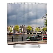Cityscape Of Amsterdam In The Netherlands Shower Curtain