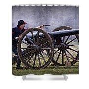 Civil War Reenactor Firing A Revolver Shower Curtain