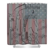Civil War Revolver American Flag Shower Curtain