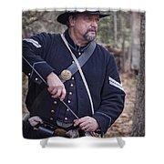 Civil War Union Soldier Reenactor Loading Musket Shower Curtain