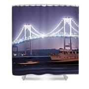 Claiborne Pell Bridge At Night Shower Curtain