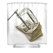 Clamp Putting Pressure On American Money Concept Shower Curtain