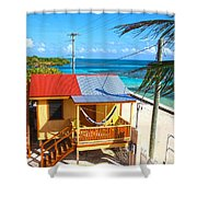Clapboard Houses On Caye Caulker Belize Shower Curtain
