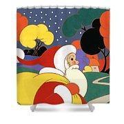 Clarice Cliff Santa Shower Curtain