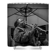Clarinet Player In New Orleans Shower Curtain by David Morefield