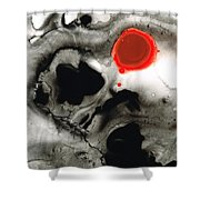 Clarity - Black And White Art Red Painting Shower Curtain