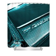 Classic '57 Teal And Chrome Shower Curtain