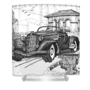 Classic Auto With Formal Gardens Shower Curtain