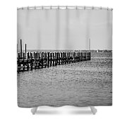 Classic Black And White Pier Scene Shower Curtain
