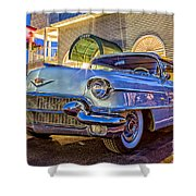 Classic Blue Caddy At Night Shower Curtain