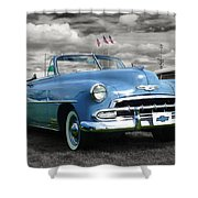Classic Blue Chevy Shower Curtain