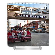 Classic Cannery Row - Monterey California With A Vintage Red Car. Shower Curtain