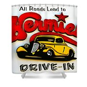 Classic Drive In Sign Shower Curtain