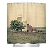 Classic Farm With Red Barn And Silos Shower Curtain