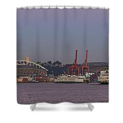 Classic Full Moon And Ferries Panorama Shower Curtain